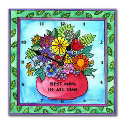 Best Mom Wall Clock - Show Mom how much she's appreciated with our Best Mom Of All Time wall clock. Made in our studio, a print of an original watercolor by Northwest artist Pamela Corwin is dry mounted onto black foam board and heat-sealed with a protective laminate. It looks exactly like a tile, but pick it up and you'll be amazed. It's light you can hang it on a push pin and unlike a ceramic clock, will never crack or break.  The clock has a hanger on the back and comes in a gift box. Quartz movement runs on a single AA battery.
