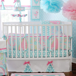 My Baby Sam - Pixie Baby 3-Piece Crib Bedding Set in Aqua - Pixie Baby 4-Piece Crib Bedding Set in Aqua