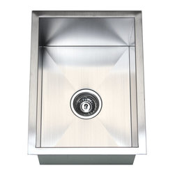 "Ariel - 15 Inch Stainless Steel Undermount Single Bowl Kitchen / Bar / Prep Sink - This single bowl sink is constructed of high quality 16-gauge stainless steel and is the perfect size for a small space. Exterior Dimensions 15"" x 20"". Interior Dimensions 13"" x 18"". Depth 10""."