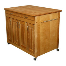 Catskill - Catskill Butcher Block WorkCenter PLUS Multicolor - 54230 - Shop for Kitchen Islands from Hayneedle.com! Make room for all of your cooking needs with the spacious and stylish versatility of the Catskill Butcher Block WorkCenter PLUS. Crafted of Northeastern hardwood this beautifully designed island features a natural oil finish and a classic butcher block top. Lower panel doors open to reveal spacious storage and adjustable shelving for serving dishes or appliances. A long top drawer keeps other necessities like knives napkins or cookware right where you need them. Other features include a handy towel rack and smooth-rolling casters that let you maneuver this large island wherever it's needed. Dual front locking casters keep it in place. Proudly made in the USA with sustainably harvested domestic hardwood.About CatskillBased in Stamford New York Catskill Craftsmen is the nation's leading manufacturer of ready-to-assemble kitchen islands carts and work centers. Every item is made from naturally self-sustaining non-endangered North American hardwoods like birch and hard rock maple. Because all sawdust shavings and waste materials generated during the manufacturing process are converted into wood pellet fuel Catskill Craftsmen generates no wood waste. Founded in 1948 this privately held company is dedicated to offering high-quality products at fair prices and the best customer service in the industry.