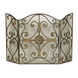 Uttermost - Uttermost 20536 Jerrica Metal Fireplace Screen - This lovely fireplace screen is made of hand forged metal with wire mesh panels. The mahogany base-coat has light brown accents with tan glaze-Light Bath Lightingdark brown wash.