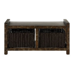 Safavieh - Arnold Console - Vintage style is at once pretty and practical, and these hallmarks of inspired living are the essence of the Arnold Console. Two generous wicker-style baskets are neatly tucked away inside the rustic reclaimed look of its solid birch exterior.