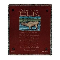`Advice From an Elk` Tapestry Throw Blanket 50 Inch X 60 Inch - This multicolored woven tapestry throw blanket is a wonderful addition to your home or cabin. Made of cotton, the blanket measures 50 inches wide, 60 inches long, and has approximately 1 1/2 inches of fringe around the border. The blanket features a print of an elk standing in a stream, and the legend `Advice From An Elk; Don`t get stuck in a rut. Cherish wide open spaces. Appreciate life`s high points. Be at home in the woods. Make your voice heard. Know when to make tracks. Be Magnificent!` Care instructions are to machine wash in cold water on a delicate cycle, tumble dry on low heat, wash with dark colors separately, and do not bleach. This comfy blanket makes a great housewarming gift that is sure to be loved.