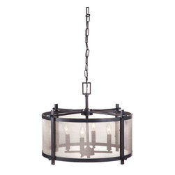 Zuo Modern Contemporary, Inc. - Gabbro Ceiling Lamp Antique Black Gold - Coy and ever-so-slightly mysterious, the Gabbro Celing Lamp offers a smoky light. Upright bulbs behind a curving screen dangle from a chain finished with an eye-catching oblong. Made of antique black gold metal.
