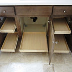 Bathroom Cabinet Pull Out Shelves by slideoutshelvesllc.com - Bathroom cabinets benefit from having pull out shelves installed under the bath vanity. Purchase made to fit pull out shelves and install them yourself for huge cost savings. http://www.slideoutshelvesllc.com