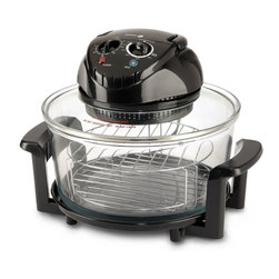 Fagor - Halogen Tabletop Oven - Cooks up to 50% faster and is up to 75% moreenergy efficient than a conventional oven. 1400W, 12 qt. capacity. Powerful halogen heating + convection systemcirculates heated air evenly around oven. Dishwasher safe glass body. Simple to use dials for timer and temperature settings. Ideal for low-fat cooking, seals in natural moisture &flavor of foods!. ETL Approved. Useful accessories included:. Two stackable cooking racks: upper for broiling, lower for baking. Tongs for lifting racks or food. Stainless steel extender ring (adds an extra 5qt.for accommodating larger items). Non-stick pan. Lid support. Manual book includes over 30 recipesGrill, Broil, bake, steam, roast or fry while saving energy!!! This highly efficient and portable halogen oven doesthe work of many appliances in one! A powerful internal fan circulates hot air to cook food uniformly and sealin natural juices for full flavor and aroma.