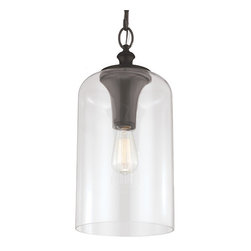 Feiss - Hounslow Oil Rubbed Bronze One-Light Pendant with Clear Glass - - The Feiss Hounslow one light mini pendant in oil rubbed bronze enhances the beauty of your home with ample light and style to match today's trends  - Supplied with 14 feet of wire  - Supplied with 5 feet of oil rubbed bronze chain  - Medium base squirrel cage antique bulb recommended  - Maximum Height: 85.5  - Canopy Dimension: 5.5-Inch D x 1.25-Inch H, Round Canopy  - Cord Color: Brown  - Glass Description: Clear Glass Shade  - Bulb not included Feiss - P1309ORB