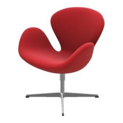 """Fritz Hansen - Swan Chair by Fritz Hansen - Arne Jacobsen designed the Fritz Hansen Swan Chair at the same time as the Egg Chair (1958), for the Royal Hotel in Copenhagen. Like the Egg, the Swan Chair is all curves. The Swan, however, is more open, with discernible rounded """"wings"""" that embrace the chair's occupant. Available in a wide range of fabric upholstery options. Established in 1872 in Copenhagen, Fritz Hansen has since come to epitomize the mid-century Danish Modern aesthetic. Blending craftsmanship with innovation, Fritz Hansen is particularly well-noted for their laminated and molded wood veneer furniture. Pieces from Vico Magistretti, Piero Lissoni and, especially, Arne Jacobsen have become icons of modern furniture design."""