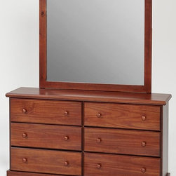 Woodcrest - Woodcrest Dresser With Mirror Set In Chocolate - Woodcrest Manufacturing is centrally located in Peru  Indiana  USA. With almost three decades of experience to help insure customer satisfaction  Woodcrest has been producing many smart and space saving youth bedroom designs. All products are crafted with a warm three stage burnish pine finish  crating a natural rustic look.