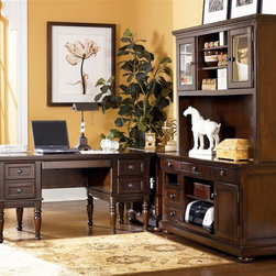 Signature Design by Ashley - 4 Pc Storage Leg Desk Set in Burnished Brown - Set includes Storage Leg Desk, Credenza, Corner Table, and Large Hutch. Made with select Cherry veneers and hardwood solids. Burnished Brown finish. Hardware is finished in a Dark Bronze color. Credenza features a pull out printer shelf, laptop tray and electrical charging station. Pull-out keyboard tray is covered with black PVC for durability. Some assembly required. Storage Leg Desk: Assembly Instructions. Credenza and Hutch: Assembly Instructions. Corner Table: Assembly Instructions. Storage Leg Desk: 60 in. W x 30 in. D x 30 in. H. Credenza: 60 in. W x 22 in. D x 30 in. H. Corner Table: 28 in. W x 22 in. D x 30 in. H. Large Hutch: 60 in. W x 16 in. D x 45 in. H