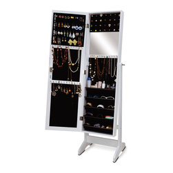 GLD - Jewelry Armoire Jewelry Organizer Cosmetics Box Cabinet - The Modern Style Jewelry Armoire is the perfect and fashion way to organize all your jewelry and accessories! Now you can store and organize all your jewlery and beauty essentails. No longer will mornings be a stressful hunt for matching earrings, bracelets, necklaces, now you will find them hanging at eye level. You will have fun adding your jewelry collection to this armoire. This item is MDF wood Material with painting,no halmful to health and environment.
