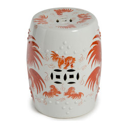 Belle & June - Red Foo Dog Garden Stool - It's more than puppy love you'll feel for this intriguing garden stool. Vivid orange dogs prance across its pure white background for a clean, Asian-influenced look that's a fun take on a classic design. If you don't decide to place it in your garden, use it in a corner alongside a floor palm for a beautiful color contrast.