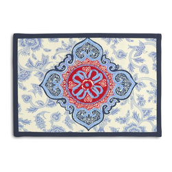 Blue & Red Ribbon-Embellished Medallion Tailored Placemat Set - Class up your table's act with a set of Tailored Placemats finished with a contemporary contrast border. So pretty you'll want to leave them out well beyond dinner time! We love it in this intricate sky blue & ruby red ribbon-embellished medallion. it's tradition with a twist.