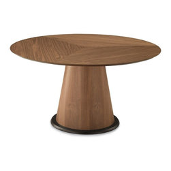 Domitalia - Palio-152 Round Table - Walnut Base - Walnut Top - The Palio Dining Table is defined by it conical pedestal base and broad table top. It features wood and wood veneer construction with table top options. Select Oak veneer/Wenge finish base with Extrawhite glass table top; Walnut Canaletto base with Walnut Canaletto veneered top; Walnut Canaletto base with Extrawhite glass table top or White glossy lacquered base with Extrawhite glass table top.