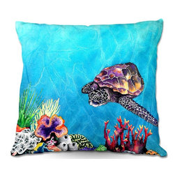 DiaNoche Designs - Pillow Woven Poplin by Brazen Design Studio - Sea Turtle - Toss this decorative pillow on any bed, sofa or chair, and add personality to your chic and stylish decor. Lay your head against your new art and relax! Made of woven Poly-Poplin.  Includes a cushy supportive pillow insert, zipped inside. Dye Sublimation printing adheres the ink to the material for long life and durability. Double Sided Print, Machine Washable, Product may vary slightly from image.