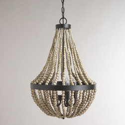 Small Wood Bead Chandelier -