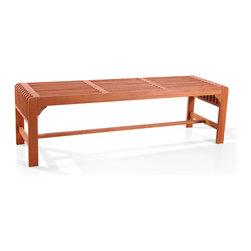 Vifah - Vifah Backless Three Seater Wood Outdoor Bench - Rest your heels outside with this outdoor wooden bench from Vifah. This elegant bench features a slatted seat and an oil-rubbed finish. Constructed from eucalyptus wood, this piece is also resistant to mold, mildew, termites and rot.