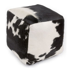 Cowhide Ottoman - I think this cowhide ottoman is absolutely adorable. I would love a pair at the end of my bed.