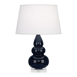 Robert Abbey - Robert Abbey Small Triple Gourd Accent Table Lamp with Lucite Base MB33X - Midnight Glazed Ceramic