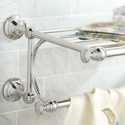 """Mercer Train Rack, Polished Nickel finish - Part of our most popular bath collection, the Mercer Train Rack keeps towels and accessories tidy and easy to reach.28"""" wide x 13"""" deep x 10"""" highCrafted of drop-forged brass, then thickly plated for strength.Finished in polished nickel, then sealed with a protective lacquer.Mounting hardware included. View our {{link path='pages/popups/fb-bath.html' class='popup' width='480' height='300'}}Furniture Brochure{{/link}}."""