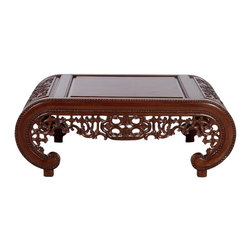 Wooden Carved Chinese Design Coffee Table - Completely hand caved from solid teak wood .  oriental designed table has brown finish made to last for ever. The carvings on the side are inspired by Han dynasty (206 B.C.-A.D. 220).