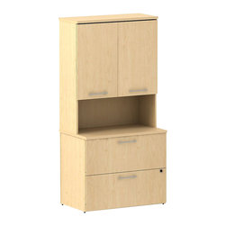 "Bush - Bush 300 Series 36"" Lateral File with Storage Unit in Natural Maple - Bush - Commercial Grade Office - 300S078AC - The right storage system goes a long way toward clearing out offices and works hard from day one. BBF Natural Maple 300 Series 36""W Tall Overhead Storage with Doors and 36""W 2 Drawer Lateral File that holds letter, legal or A4-size files. Stable design, with interlocking drawers, reduces likelihood of tipping. Secure gang lock with interchangeable core affords privacy and flexibility. Full-extension ball bearing slides make it easy to reach back of file drawers. Tall Overhead Storage helps keep desk areas clear and has an open center section for large books or oversize manuals. Two door-enclosed compartments hold supplies, electronics or personal items. Quiet, self-closing hinges are stylish. Desktop grommets provide easy access and concealment of unsightly wires, cords or cables. Diamond Coat top surfaces are scratch/stain resistant. Tough edge banding resists dents, dings, nicks, scrapes and collision impacts. Natural Maple finish complements any office decor and matches other 300 Series pieces. Includes BBF Limited Lifetime warranty."