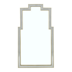 Lillian August - Lillian August Gold Athena Mirror LA13340-01 - A beautiful blend of beveled, lightly antiqued, mirrored framing bordered with aged gold wood trim and surrounding a clear mirrored glass surface.