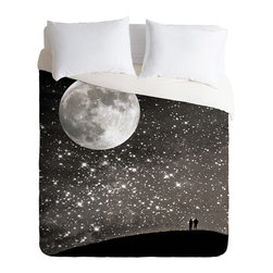 DENY Designs - Shannon Clark Love Under The Stars Duvet Cover - Turn your basic, boring down comforter into the super stylish focal point of your bedroom. Our Luxe Duvet is made from a heavy-weight luxurious woven polyester with a 50% cotton/50% polyester cream bottom. It also includes a hidden zipper with interior corner ties to secure your comforter. It's comfy, fade-resistant, and custom printed for each and every customer.