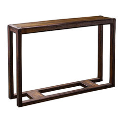 Uttermost - Deni Wooden Console Table - Light Honey Stain On Solid Mango Wood, Burnished With Darkened Edges And Heavy Distressing.