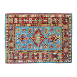 Area Rug, 4'X5' Hand Knotted High Quality Kazak 100% Wool Rug SH11868 - This collections consists of well known classical southwestern designs like Kazaks, Serapis, Herizs, Mamluks, Kilims, and Bokaras. These tribal motifs are very popular down in the South and especially out west.