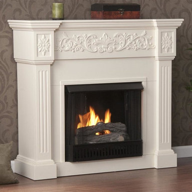 Holly & Martin - Calvert Carved 44.5 in. Gel Fireplace - Includes metal firebox, cement log, faux coal cinder and screen kit. Fuel not included. Ventless. Elegant floral trim. Fluted columns on either side of firebox. Perfect media room accent. Supplements heat to save on energy consumption. FireGlo gel fuel snaps and crackles like real wood. Emits no smoke, odor and ash. Holds upto 3 cans of gel fuel simultaneously for full bodied 6 - 8 in. flame. Each can of FireGlo produces upto 3000 BTU's. Metal firebox withstands more than 9000 BTUs to safely handle gel fuel. Mantel supports upto 85 lbs.. Accommodates upto 47 in. flat screen TV. Made from MDF and veneer. Assembly required. 44.5 in. W x 14.5 in. D x 40.25 in. H (100 lbs.)Crisp is the perfect description for this traditional ivory fireplace. This beautiful mantel is finished off with understated molding that complements the design fabulously. Requiring no electrician or contractor for installation allows instant remodeling without the usual mess or expense. In addition to your living room or bedroom, try moving this fireplace to your dining room for a romantic dinner or complement your media room with a ventless fireplace below your flat screen television. Use this great functional fireplace to make your home a more welcoming environment.
