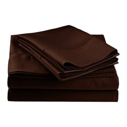 600 Thread Count Twin XL Sheet Set (Fagotting) Cotton Rich - Chocolate - Surround yourself in the classic elegance of Impressions Hem Stitch sheet set. This design features hem stitching which is a classic method used to put two pieces of fabric together using a an insertion stitch to give off the appearance of lace.