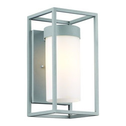 """Forecast Lighting - Forecast Lighting F8556 12"""" Single Light Outdoor Wall Sconce with Etched White G - 12"""" Single Light Outdoor Wall Sconce with Etched White Glass from the Cube CollectionThis contemporary / modern single light wall sconce by Forecast Lighting features a stylish etched white glass shade. This fixture is sure to make a stunning addition to your home.Features:"""