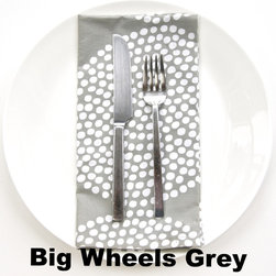 """See Design - Dinner Napkin, Set of 8, Big Wheels Grey - Liven up your dinner table with these beautifully patterned dinner napkins! Buy one pattern or mix and match! Set of 8. The dinner napkins are 100% cotton and 22"""" square."""
