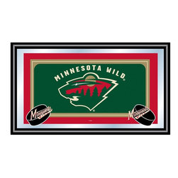 Trademark Global - Framed NHL Minnesota Wild Team Logo Mirror - The official logo of the Minnesota Wild hockey team takes center stage on this decorative wall mirror, a great gift idea for any sports fan. The officially licensed mirror has a black wrapped wood frame and would be a perfect decorative accent in a game room or behind a bar. Great for gifts and recreation decor. Mirror with print. Black wrapped wood frames. 26 in. W x 15 in. H (10 lbs.)This National Hockey League Officially Licensed Team Logo Wall Mirror is the perfect gift for the Hockey Fan in your life.