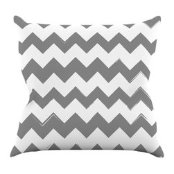 """Kess InHouse - KESS Original """"Candy Cane Gray"""" Chevron Throw Pillow (16"""" x 16"""") - Rest among the art you love. Transform your hang out room into a hip gallery, that's also comfortable. With this pillow you can create an environment that reflects your unique style. It's amazing what a throw pillow can do to complete a room. (Kess InHouse is not responsible for pillow fighting that may occur as the result of creative stimulation)."""