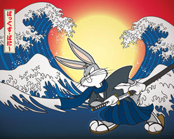 "Oriental Furniture - Bugs Bunny Samurai Wall Art - This silly take on Hokusai's classic ""Great Wave off Kanagawa"" features a warrior Bugs Bunny drawing his samurai sword. The vibrant colors come to life in this inkjet canvas print, ready to hang right from the box in you kid's room or playroom. This authentic graphic print is professionally reproduced onto artist quality canvas, stretched over a sturdy mitered wood frame, and ready to hang right from the box."