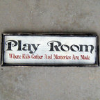 Framed Play Room Sign - Hand crafted – much like the lives lived in such a place. You can stop apologizing for the disarray and simply point at the sturdy little sign. The Message: PLAYROOM - Where kids gather and memories are made