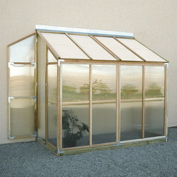Sunshine - Sunshine Lean To 4 x 8 Foot Greenhouse Kit - MRY020 - Shop for Greenhouses from Hayneedle.com! Additional FeaturesDoor measures 5.6-feetPeak height measures 7.35H feetComes with 8-feet of wood stagingStaging runs the length of the greenhouseStaging gives you versatility and more planting spaceDoes not take long to assembleComes with a 5-year warrantyThe Sunshine Lean-To 4 x 8-Foot Greenhouse Kit is designed for those who don't have a yard but still love to grow their own fresh produce and plants. Designed to attach to a smooth vertical wall this lean-to greenhouse features two doors one at each end and shatterproof glazed polycarbonate panels that you can cut through with a fine tooth saw if you need more ventilation. Eight-feet of staging are included in this kit giving you versatility in what you grow and it can also double as work station. The clear natural and sturdy redwood frame looks beautiful wherever it's placed so you won't have to worry about your greenhouse being an eye-sore. With a five-year warranty included this is a great choice for anyone looking for a small reliable greenhouse.