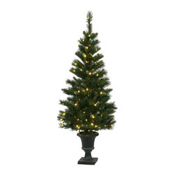 "Vickerman - 5' x 27"" Ashberry Potted Tree 120LED WmW - 5' x 27"" Ashberry Potted Tree cones, Berries, 319 PVC Tips, And 120 Warm White Wide Angle LED Lights"
