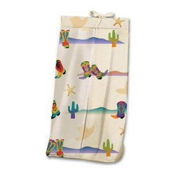 Room Magic - Room Magic Cowboy Diaper Stacker - RM17-CB - Shop for Diaper Stackers from Hayneedle.com! Your little buckaroo will love the Room Magic Cowboy Diaper Stacker. Made with a designer print this adorable diaper stacker pictures cacti sheriff badges hats and colorful western boots of every kind. Completely made with cotton this quality stacker keeps diapers right next to where you need them most in the nursery without taking up extra changing table space.About Room MagicRoom Magic doesn't just make children's furniture; they design furniture specifically for children using the magic of childhood imagination and creativity as a guiding principle. Beginning in 1999 with graphic designer Karen Andrea's attempt to create a truly lively and unique room for her five-year-old daughter Sarah the company has maintained a focus on using bright colors and unique themes that steer clear of cliched motifs. Bright and bold playful cut outs decorate the quality hardwood pieces finished with beautiful stains. With collections that are geared both to boys and to girls Room Magic provides the furniture accessories and bedding you need to bring the magical fun of childhood to your kids' rooms.