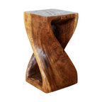 Kammika - Twist Stool 10x10x18 inch Hgt Sust Monkey Pod Wood w Eco Friendly Walnut Oil Fin - Our Sustainable Monkey Pod Wood Twist Stool 10 inch x 10 inch x 18 inch Height with Eco Friendly, Natural, Food-safe Livos Walnut Oil Finish is carved from sustainable Monkey Pod wood and is completely eco-friendly. The beauty of this design lies in its simplicity. It is bold, yet gentle; rustic yet refined. One quarter twists support this piece, which can serve as an end table, stand or stool; they can serve as a serving table or bench when put together. This versatile piece is solid and reliable; each is hand carved - no two are alike. Craftspeople from the Chiang Mai area in Northern Thailand create these pieces with the simplest of tools. Each piece is a Work of Functional Sustainable Monkey Pod Wood Eco Friendly Art! After each Sustainable Monkey Pod wood (Acacia, Koa, Rain Tree grown for wood carving) piece is kiln dried, and carved, it is rubbed in Livos Walnut oil creating a highly water resistant and food safe matte finish. The color ranges from medium to dark Walnut brown tones that will darken as the wood ages. There is no oily feel, and cannot bleed into carpets. We make minimal use of electric hand sanders in the finishing process. All products are dried in solar or propane kilns. No chemicals are used in the process, ever. This eco friendly functional art piece, made from the thick branches of the quick-growing Acacia tree in Thailand - where each branch is cut and carved to order (allowing the tree to continue growing), is packaged with cartons from recycled cardboard with no plastic or other fillers. As this is a natural product, the color and grain of your piece of Nature will be unique, and may include small checks or cracks that occur when the wood is dried. Sizes are approximate. Products could have visible marks from tools used, patches from small repairs, knot holes, natural inclusions or holes. There may be various separations or cracks on your piece w