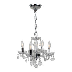 Worldwide Lighting - Clarion 4-Light Chrome Finish and Clear Crystal Chandelier - This stunning 4-light crystal chandelier only uses the best quality material and workmanship ensuring a beautiful heirloom quality piece. Featuring a radiant chrome finish and finely cut premium grade clear crystals with a lead content of 30%, this elegant chandelier will give any room sparkle and glamour. Worldwide Lighting Corporation is a privately owned manufacturer of high quality crystal chandeliers, pendants, surface mounts, sconces and custom decorative lighting products for the residential, hospitality and commercial building markets. Our high quality crystals meet all standards of perfection, possessing lead oxide of 30% that is above industry standards and can be seen in prestigious homes, hotels, restaurants, casinos, and churches across the country. Our mission is to enhance your lighting needs with exceptional quality fixtures at a reasonable price.