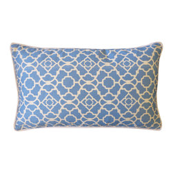 Jiti - Moroccan Azul Pillow - Jazz up your home decor with our Moroccan Azul Pillow!  Made from 100% Cotton. Invisible Zipper. DRY CLEAN ONLY. Insert is made of 95% feathers and 5% down.