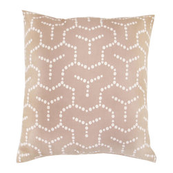 """Jaipur Rugs - Taupe/Ivory color cotton flax guman poly fill pillow 18""""x18"""" - Japiko cotton based pillow with designs influenced by Japanese textiles.  Designs are applied by used of dimensional paint and a stencil."""