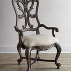 Horchow - Two Donabella Wood-Back Armchairs - This chair features a stunning frame with intricately carved back, providing a beautiful silhouette from any angle. Carvings also detail the outlines of the arms and legs, adding a dramatic dimension to this seating option. Mixed hardwood frame. Polye...