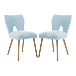 Safavieh Archer Blue Dining Side Chairs - Set of 2 - The Safavieh Archer Blue Dining Chair - Set of 2 is sure to add fun to any decor. Upholstered in a luscious blue cotton/velvet blend, these chairs are constructed of sturdy birch wood for long-lasting durability. Instantly a classic, this set of two is sure to make a retro statement within your home. No assembly required.About SafaviehSafavieh is a leading manufacturer and importer of fine rugs. Established in 1914 in the capital of Persian weaving masters, the company today brings three generations of knowledge and experience to its award-winning collections. In the United States since 1978, Safavieh has been a pioneer in the creation of high-quality hand-made rugs, a trend that revolutionized the rug business in America. Its collections range from the finest antique and historical reproductions to the most fashion-forward contemporary and designer rugs.