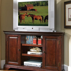 HomeStyles - Corner TV Stand in Cherry Finish - Two storage doors with adjustable shelves ...