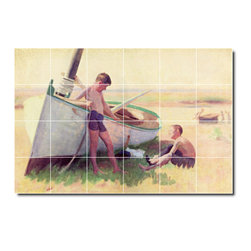 Picture-Tiles, LLC - Two Boys By A Boat Near Cape May Tile Mural By Thomas Anschutz - * MURAL SIZE: 17x25.5 inch tile mural using (24) 4.25x4.25 ceramic tiles-satin finish.