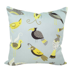 Land of Pillows - Waverly For the Birds Throw Pillow, Lemon - Fabric Designer - Waverly